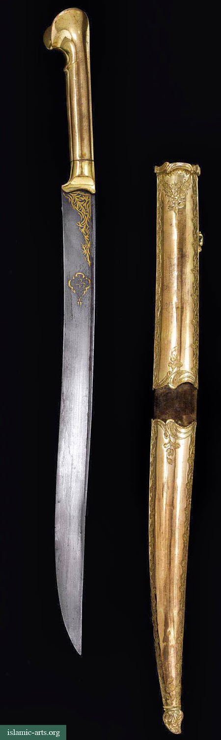 AN OTTOMAN TOMBAK SWORD (YATAGHAN) AND SCABBARD