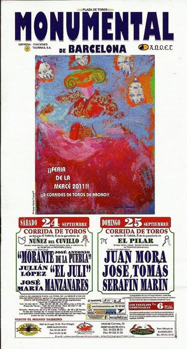toros barcelona mercé 2011 cartel josé tomás morante el juli manzanares serafin marin juan mora