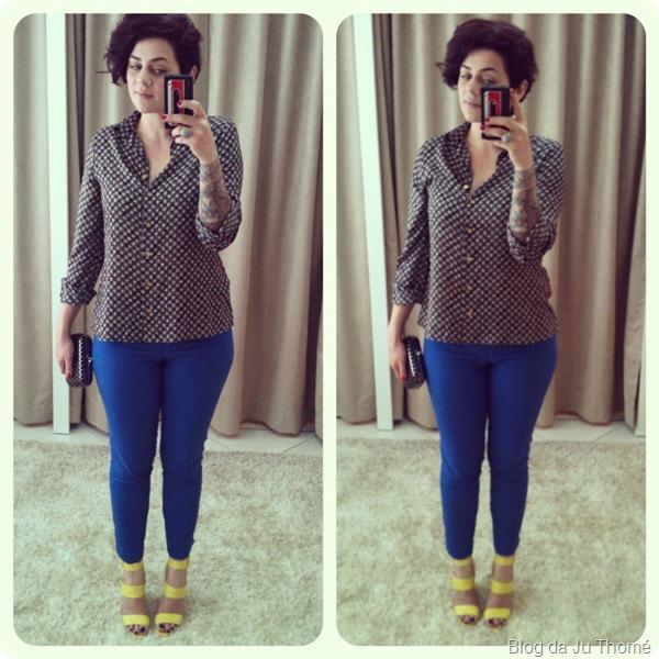 look calça azul camisa sandália amarela santa lolla