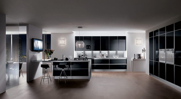 cocinas súper brillosas en colores negro y gris