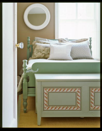Wallpaper borders can be used for more than trimming walls. You can make unique furniture accents like the treatment on this chest. (Martha Stewart Living, April 2006)