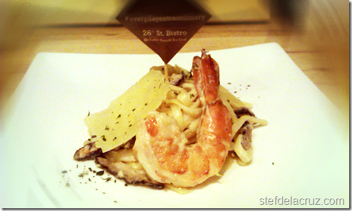 tiger prawn shiitake linguine