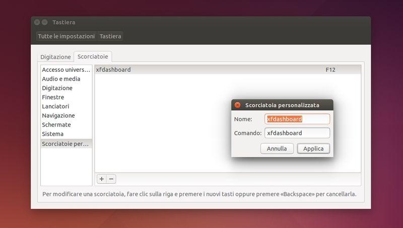 xfdashboard - importazione scorciatoia da tastiera