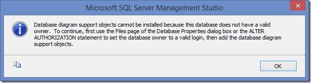 SQL Server Management Studio information dialog