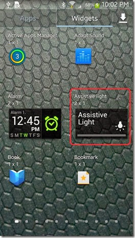 Assistive Light in Widgets app tray