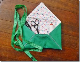 Fabric envelope with goodies