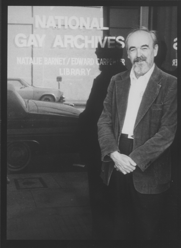 Jim Kepner standing outside his National Gay Archives at 1654 North Hudson Avenue. Undated.