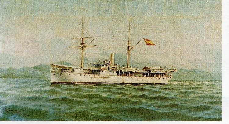 Transporte MANILA. Oleo sobre lienzo de Ildefonso Sanz Domenech. IMN Nº 199. Foto del libro Catalogo de Pinturas del Museo Naval. Vol. V.jpg