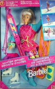 Winter Sports Barbie skis, snowboard and iceskates (1995)