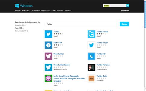 Resultados de Microsoft Store