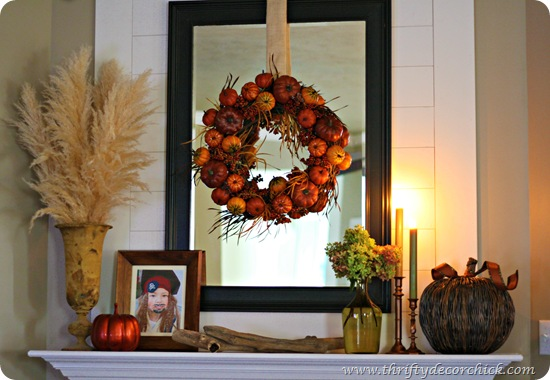Decorating the mantel for fall from thrifty decor chick for Thrifty decor