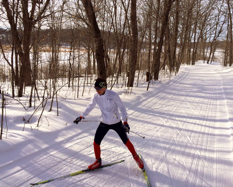 Great skate ski conditions on Sunday morning.