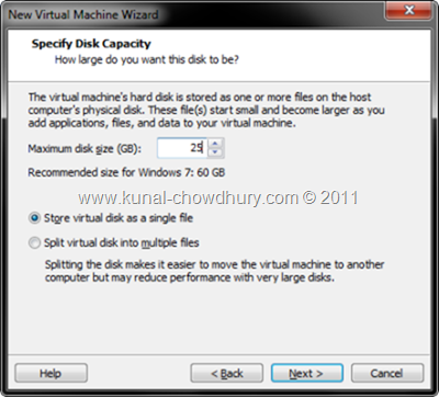 7. Specify Disk Capacity of VM