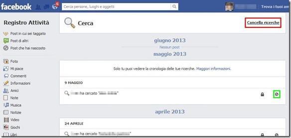 Facebook schermata cronologia delle ricerche effettuate