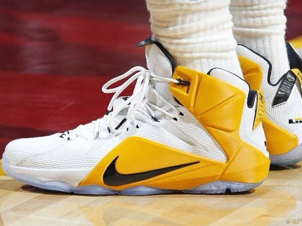 Closer Look at the 8220White amp Yellow8221 Nike LeBron 12 Cavs Home PE