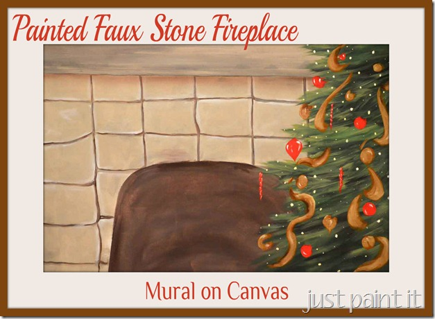 painted faux stone fireplace