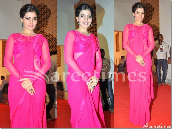 Samantha_Pink_Plain_Saree