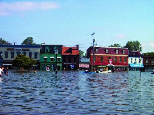 Downtown Annapolis, Maryland, was flooded during Hurricane Isabel in 2003. Higher sea levels will increase the extent and frequency of flooding from such storms. Photo: Don Boesch / University of Maryland Center for Environmental Science
