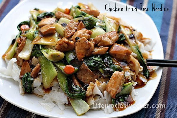 Chicken Fried Rice Noodles (Chow Fun)