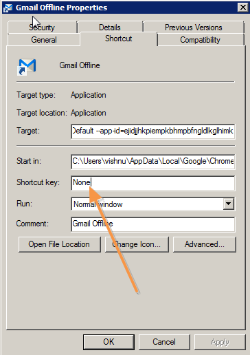 keybord shortcut for gmail offline