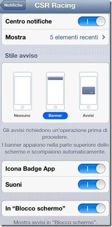 Tipi di notifiche attivate su applicazioni iPhone