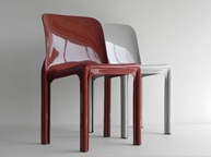 Selene stacking chair, maroon with gray