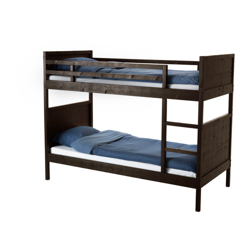 A camp-style post would not be complete without bunk beds! I like this one in dark wood. 