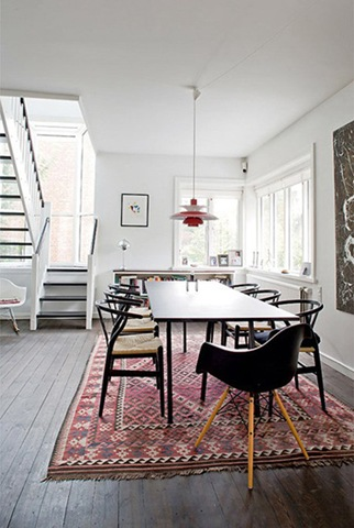 scandinavian style with kilim rug