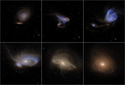 simulação de galáxias em fusão