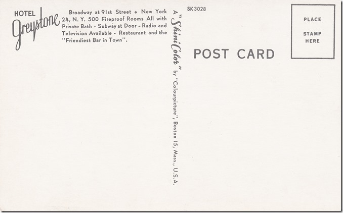 Greystone Hotel in New York - Vintage Postcard
