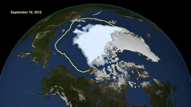The amount of Arctic summer sea ice, at center in white, on 16 September 2012 compared with the average from 1979 to 2000 average for the day, shown with the yellow line. A NOAA study suggests there could be no summer ice at all as early as 2020. Graphic: Associated Press