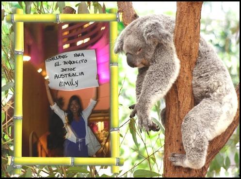 Emely saludando desde Australia