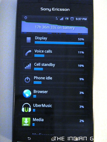 Sony Ericsson Xperia Arc - Battery consumption
