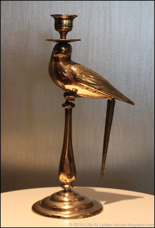 brass parrot candlestick- polished