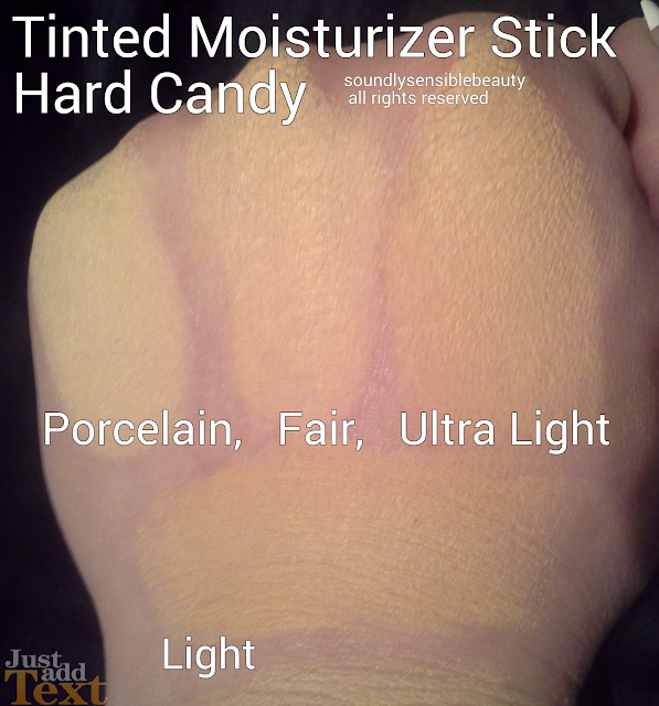 Hard Candy CC Tinted Moisturizer Stick; Swatches of Shades: Porcelain, Fair, Ultra Light, Light