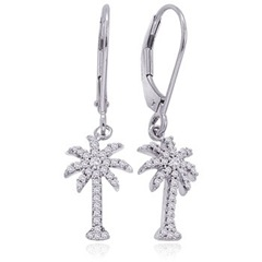 Round Diamond Dangling Palm Tree Earrings in 14k White Gold