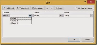 Sorting Multicolumn Data in Excel - Sorting Tool Dialogue Box