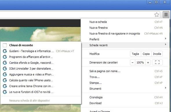 Chrome Schede recenti nel menu
