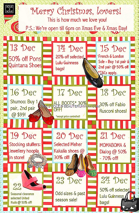 SOLE 2 SOLE shoes  sale Christmas Lulu Guinness French Sole, London Sol, Shumoo, Momabona Dialog