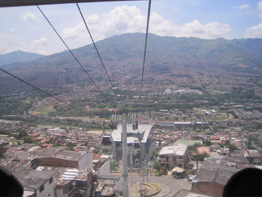 View from inside one of the gondolas on Medellin's Metrocable