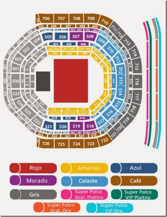 mapa de lugares del concierto de bruno mars en Arena Ciudad de mexico 2014 primera fila