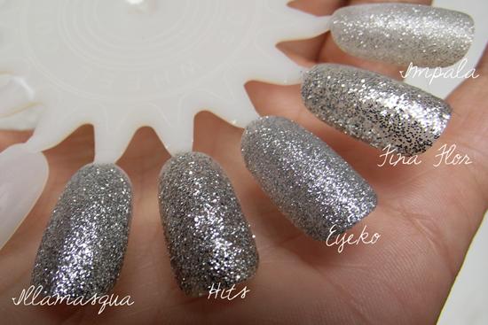 Comparação Glitter Prata - Silver