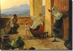 Italian Peasant Family in a Loggia, 1825–30, by Franz Ludwig Catel (1778–1856) detail