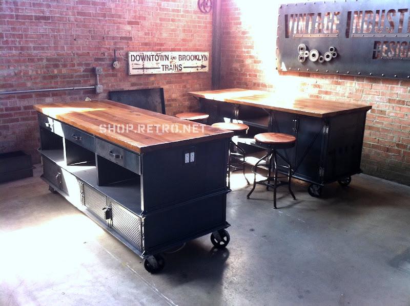 Vintage Industrial Kitchen Island Vintage Industrial Furniture - Etsy kitchen island