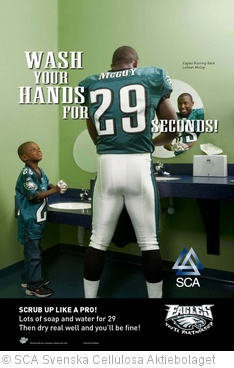 'Handwashing poster with The Eagles' LeSean McCoy' photo (c) 2010, SCA Svenska Cellulosa Aktiebolaget - license: http://creativecommons.org/licenses/by/2.0/
