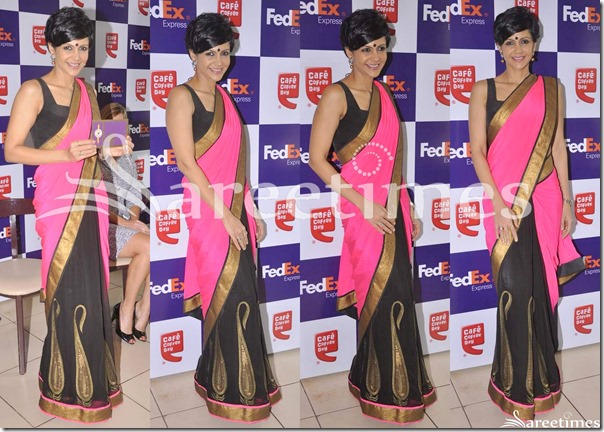 Mandira_Bedi_Pink_Black_Half_and_Half_Saree