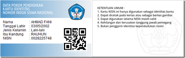Kartu NISN dengan template default