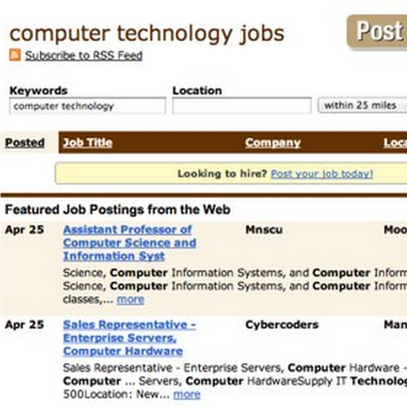 Computer and Technology Jobs Available - Search By Keywords and Location