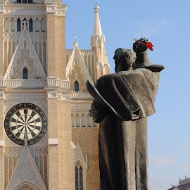 Marković catholic darts by Marko Petrović - Digital Art Places ( srbija, statue, pikado, svetozar marković, novi sad, serbia, statua, katedrala, katredrala u novom sadu, cathedral, darts, trg )