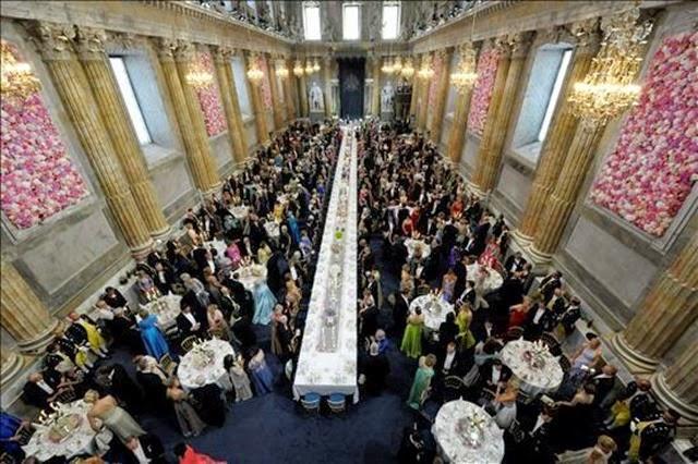 Vista del salón que acogió el banquete